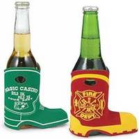 A boot shaped koozie that holds beer bottles and water bottles