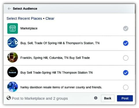 Step 3: choose which Facebook audiences you'd like to see your item that's for sale.