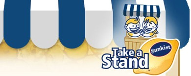 Sunkist Take A Stand lemonade stand logo.